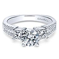 Svetlana 14k White Gold Round 3 Stones Engagement Ring angle 1