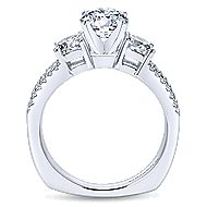 Svetlana 14k White Gold Round 3 Stones Engagement Ring angle 2