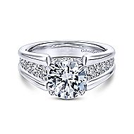 Swan 18k White Gold Round Straight Engagement Ring angle 1