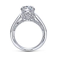 Swan 18k White Gold Round Straight Engagement Ring angle 2