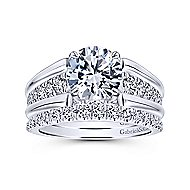 Swan 18k White Gold Round Straight Engagement Ring angle 4