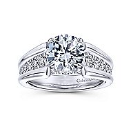 Swan 18k White Gold Round Straight Engagement Ring angle 5