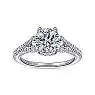 Sweet Pea 18k White Gold Round Split Shank Engagement Ring angle 5