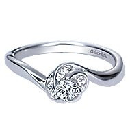 Swoon 14k White Gold Round Bypass Engagement Ring angle 1