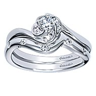 Swoon 14k White Gold Round Bypass Engagement Ring angle 4