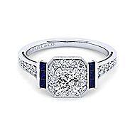 Sylvia 14k White Gold Cushion Cut Halo Engagement Ring angle 1