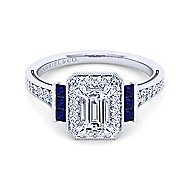 Sylvia 14k White Gold Emerald Cut Halo Engagement Ring angle 1