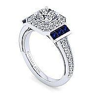 Sylvia 14k White Gold Round Halo Engagement Ring angle 3