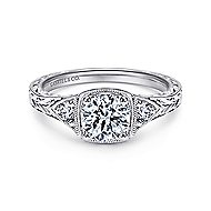 Tallulah Platinum Round 3 Stones Engagement Ring angle 1