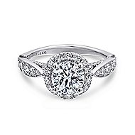Tansy 14k White Gold Round Halo Engagement Ring angle 1