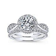 Tansy 14k White Gold Round Halo Engagement Ring angle 4