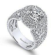 Tarantana 18k White Gold Round Double Halo Engagement Ring angle 3
