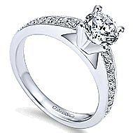 Tess 14k White Gold Round Straight Engagement Ring angle 3