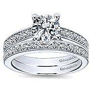 Tess 14k White Gold Round Straight Engagement Ring angle 4
