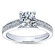 Tess 14k White Gold Round Straight Engagement Ring angle 5