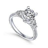 Thandie 14k White Gold Round 3 Stones Engagement Ring angle 3