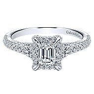 Thebe 14k White Gold Emerald Cut Halo Engagement Ring angle 1