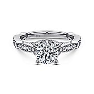 Thistle 14k White Gold Round Straight Engagement Ring angle 1
