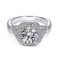 Thompson 14k White Gold Round Halo Engagement Ring angle 1
