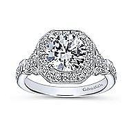 Thompson 14k White Gold Round Halo Engagement Ring angle 5