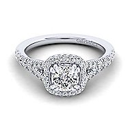 Thyme 14k White Gold Cushion Cut Double Halo Engagement Ring angle 1