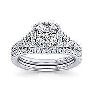 Thyme 14k White Gold Cushion Cut Double Halo Engagement Ring angle 4