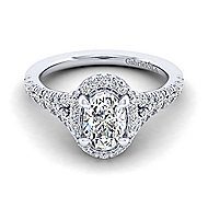 Thyme 14k White Gold Oval Double Halo Engagement Ring angle 1