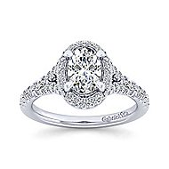 Thyme 14k White Gold Oval Double Halo Engagement Ring angle 5