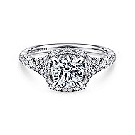 Thyme 14k White Gold Round Double Halo Engagement Ring angle 1