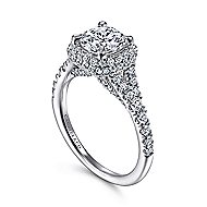 Thyme 14k White Gold Round Double Halo Engagement Ring angle 3