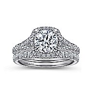 Thyme 14k White Gold Round Double Halo Engagement Ring angle 4