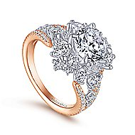Tinsley 18k White And Rose Gold Round Split Shank Engagement Ring angle 3