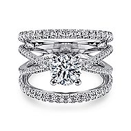 Titania 14k White Gold Round Split Shank Engagement Ring angle 1
