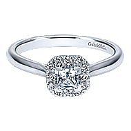 Toni 14k White Gold Princess Cut Halo Engagement Ring angle 1