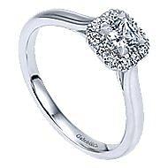 Toni 14k White Gold Princess Cut Halo Engagement Ring angle 3