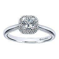 Toni 14k White Gold Princess Cut Halo Engagement Ring angle 5