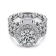 Trinity 14k White Gold Round Halo Engagement Ring angle 1
