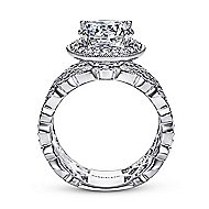 Trinity 14k White Gold Round Halo Engagement Ring angle 2