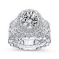 Trinity 14k White Gold Round Halo Engagement Ring angle 4