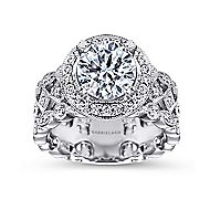 Trinity 14k White Gold Round Halo Engagement Ring angle 5