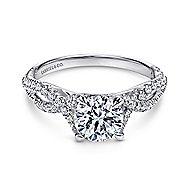 Tristan 14k White Gold Round Twisted Engagement Ring angle 1