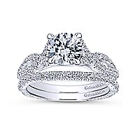 Tristan 14k White Gold Round Twisted Engagement Ring angle 4