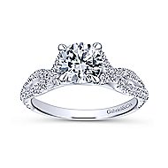 Tristan 14k White Gold Round Twisted Engagement Ring angle 5