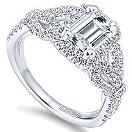 Tulip 14k White Gold Emerald Cut Halo Engagement Ring angle 3