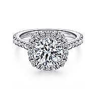 Tyra 14k White Gold Round Halo Engagement Ring angle 1