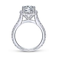 Tyra 14k White Gold Round Halo Engagement Ring angle 2
