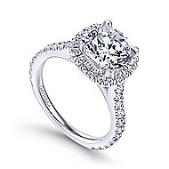Tyra 14k White Gold Round Halo Engagement Ring angle 3
