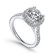 Tyra 14k White Gold Round Halo Engagement Ring angle 3