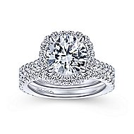 Tyra 14k White Gold Round Halo Engagement Ring angle 4