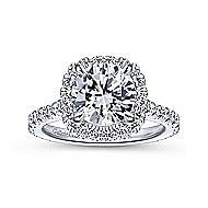 Tyra 14k White Gold Round Halo Engagement Ring angle 5